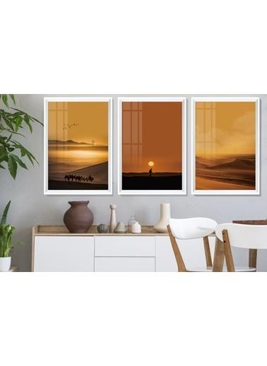 Çerçeve Home  Desert Landscape Beyaz Çerçeve Tablo Seti Beyaz